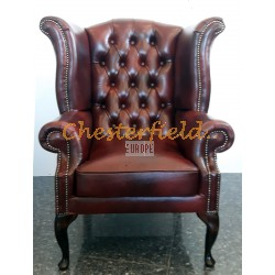 Chesterfield Queen fülesfotel Antikbordó A7