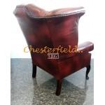 Chesterfield Queen fülesfotel Antikbordó A7