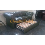 Chesterfield Classic 3-as ágyazható kanapé Antikzöld A8